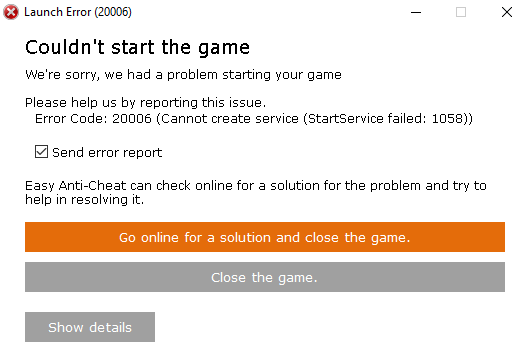 How to quickly fix Easy Anti-Cheat's Error 20006 (and 1072) | PC