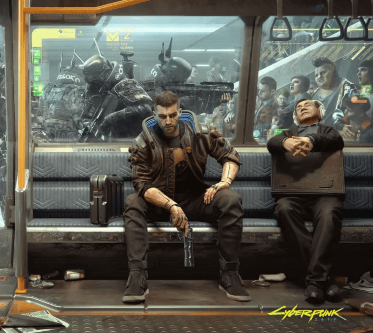 cyberpunk man with a gun sitting in a subway