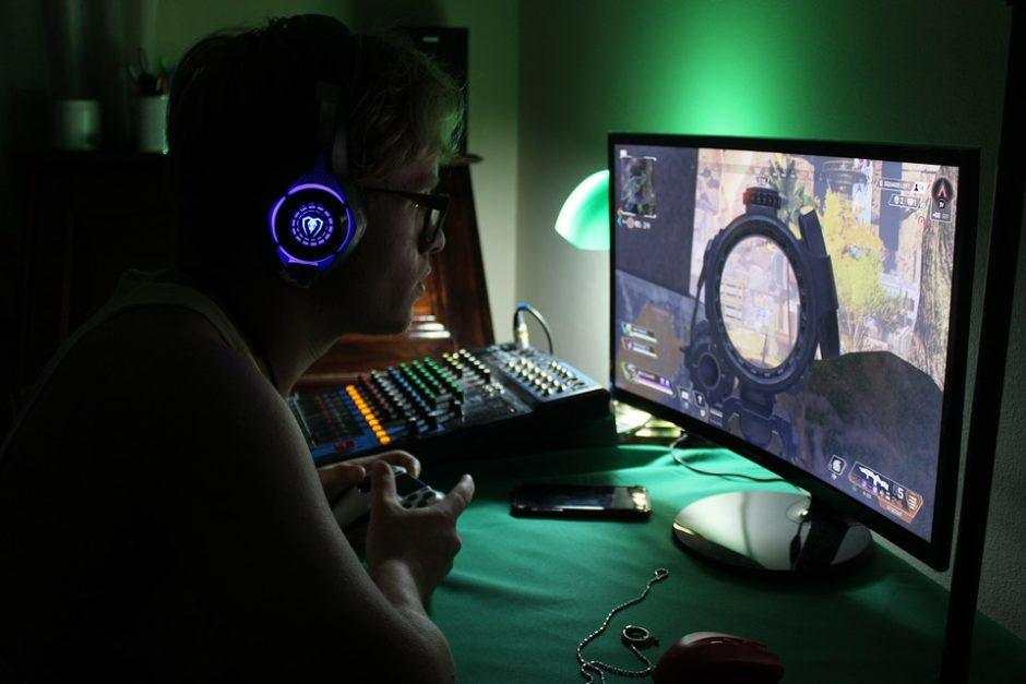 A person playing video game