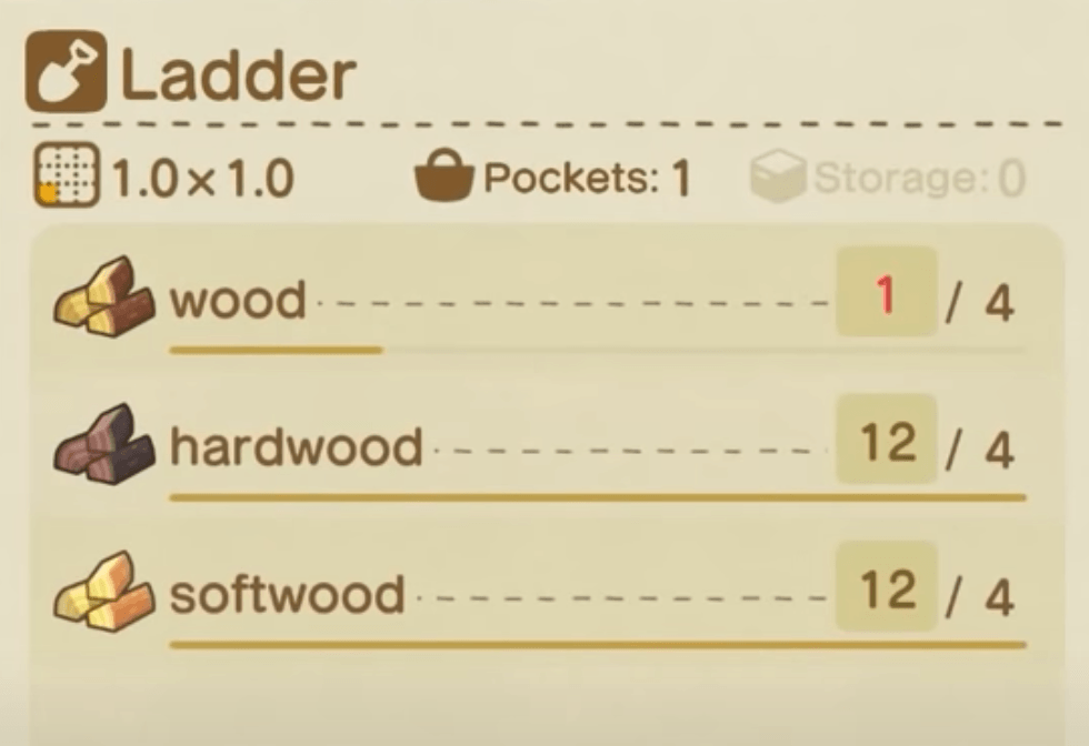 animal crossing ladder recipe