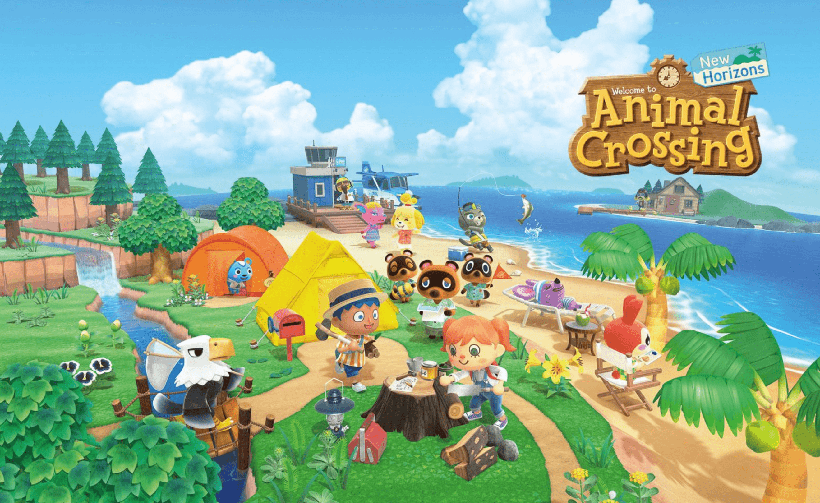 animal crossing front cover displaying characters on a lawn with sea in background