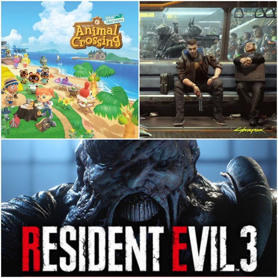 top 3 video games of 2020 - animal crossing, cyberpunk 2077, resident evil 3