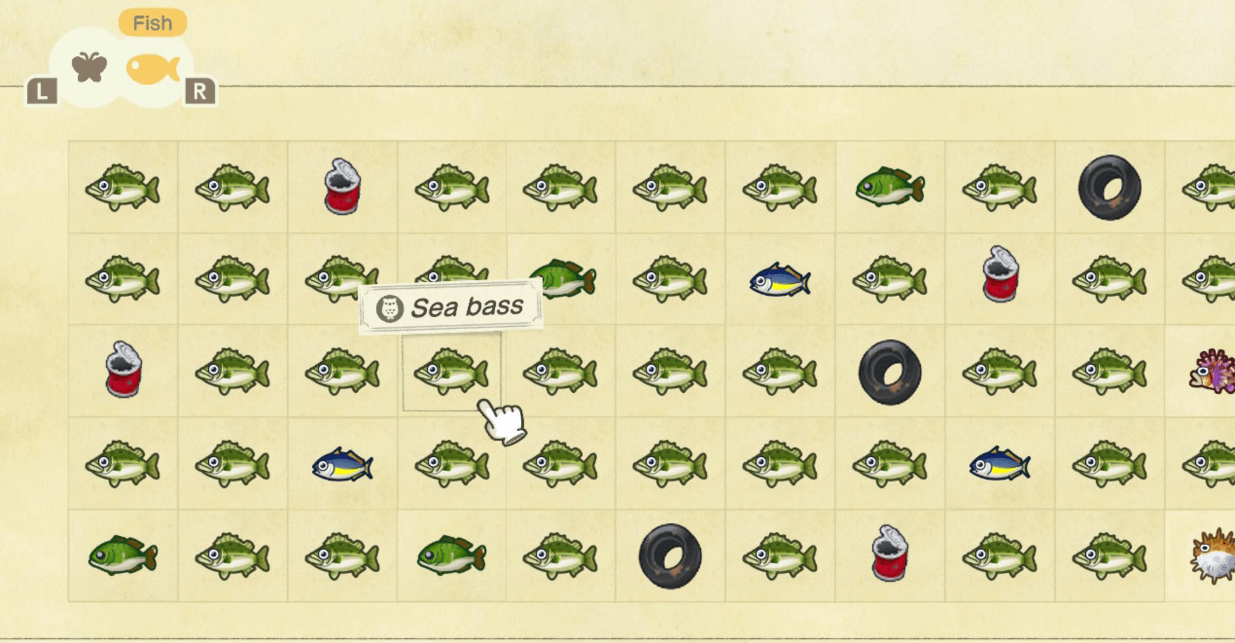 critterpedia showing fish