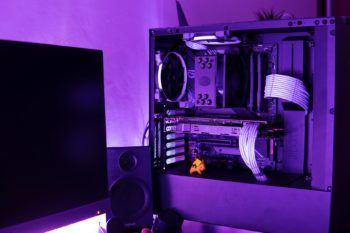 desktop setup in purple light