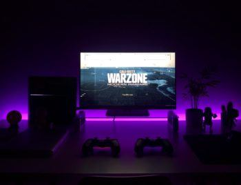 gaming setup in purple light