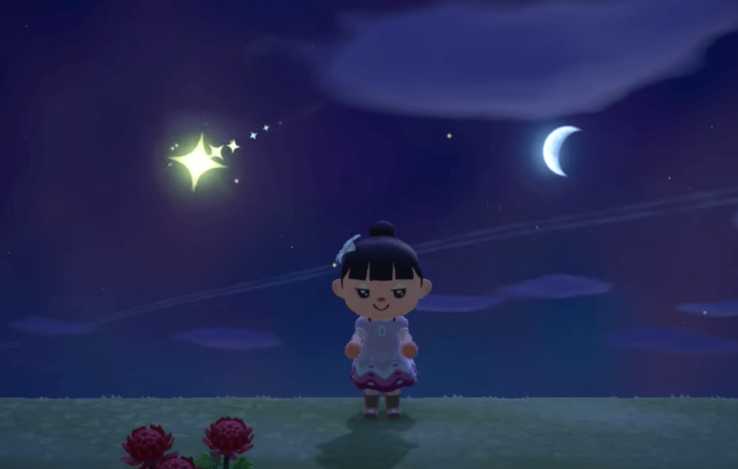 wishing upon a star with crescent moon in background